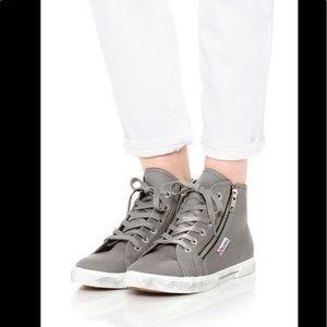 New Superga 2224 COTDU Grey High Top Sneakers Sz 5